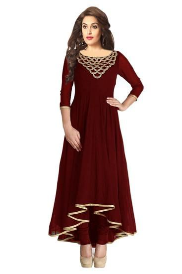 LadyIndia.com #Kurtis, Stylish Embroidered Semi Stitched Brown Kurti For Women, Kurtis, Kurtas, Cotton Kurti, Anarkali, A-Line Kurti Designer Kurti, https://ladyindia.com/collections/ethnic-wear/products/stylish-embroidered-semi-stitched-brown-kurti-for-women?variant=30039322765