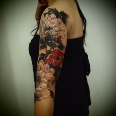 Black and red floral tattoo new tat ideas pinterest for Red flower tattoo