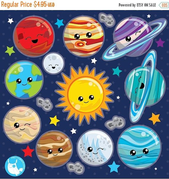 80% OFF SALE Solar system clipart commercial use, planets vector graphics, Space clipart, kawaii planet clip art, digital images - CL1024