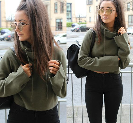 Get this look: http://lb.nu/look/8630705  More looks by Terri L: http://lb.nu/herfastestfashion  Items in this look:  Missguided Jumper, Mango Jeans, Zaful Sunglasses, Primark Bag   #casual #edgy #minimal #fashion #missguided #khaki #streetstyle