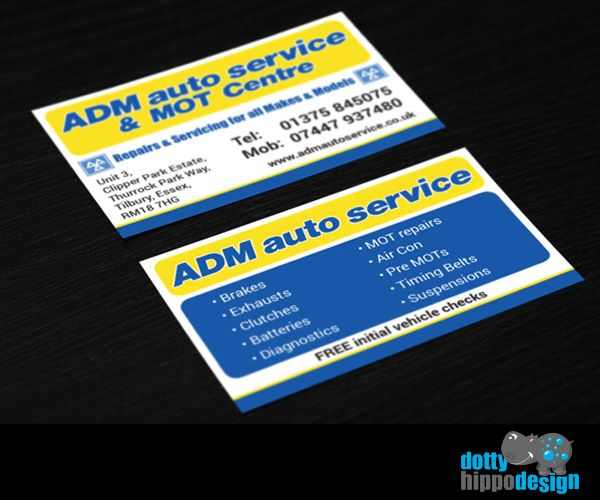 Business card design for ADM Auto Service