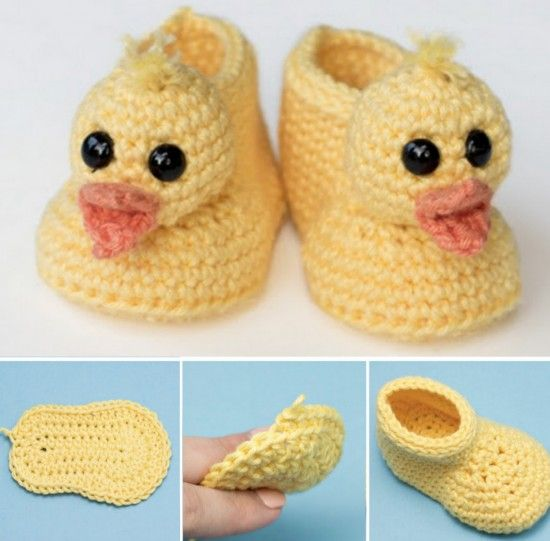 Rubber Duck Booties Free Crochet Pattern