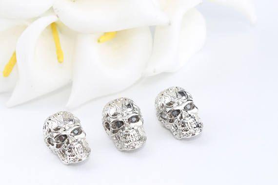 Silver Skull BeadZirconia Skull Bead Zirconia Eyes Skull