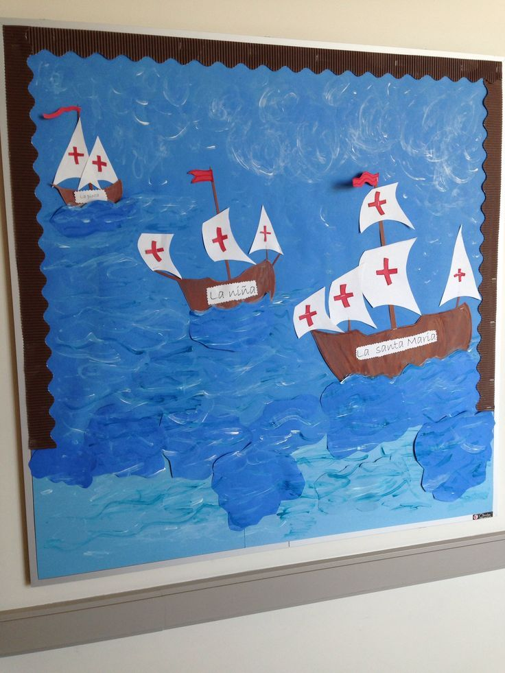 Columbus Day Bulletin Board The Students Will Write One Sentence On The Sails To Show What Columbus Day Christopher Columbus Classroom Decorations