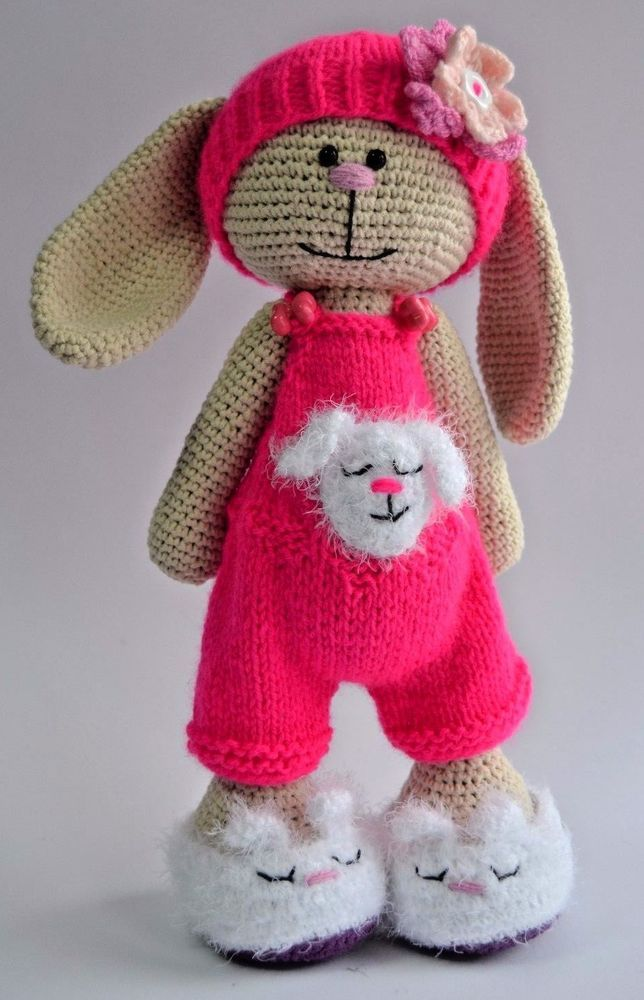Knitted handmade toy pink bunny rabbit girl beige soft doll 13 in #Unbranded
