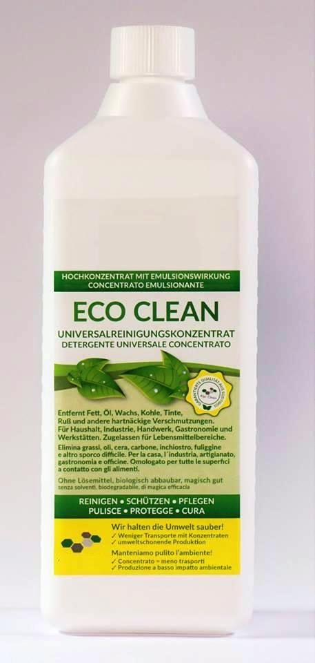 ECO CLEAN  UNIVERSALREINIGUNGSKONZENTRAT  ECO Clean ist ein hochwirksames Reinigungskonzentrat mit Emulsionswirkung und sehr guter Tiefenwirkung, es ist biologisch abbaubar und zugelassen für Lebensmittelbereiche. ECO Clean entfernt mühelos Fett, Öl, Wachs, Kohle, Tinte, Ruß und andere hartnäckige Verschmutzungen. Dabei arbeitet unser Reinigungskonzentrat schnell, sicher und benötigt kein warmes Wasser. Mit ECO Clean arbeiten Sie besonders wirtschaftlich, schnell und sicher.   Anwedungen: Es…