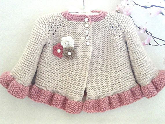 Price is ONLY for the PATTERN and NOT for the finished items ! ---------------------------------------------------------------------------------------  ..................... PATTERN ......................   ............ INSTANT DOWNLOAD ..........  ---------------------------------------------------  This listing for Knitting PATTERN of Baby Jacket :  a ) with Crochet Edging  b ) with Knitting Edging    PATTERN is made for Sizes :   0 - 3 months and 3 - 6 months…