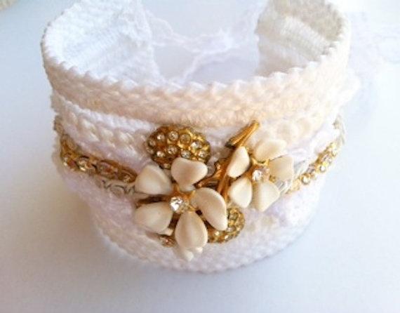 White Bridal Cuff Bracelet by StunningByDesign on Etsy