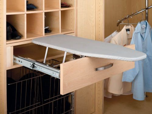 If your laundry is in an area open to view as people pass through your house — like a mudroom — you'll want to keep things hidden. If you are building a kitchen and laundry at the same time, consider combining the cabinet order and get accessories like this pullout ironing board. Or use the old kitchen cabinets in the laundry and add an aftermarket pullout trash can, like the one available at Rockler. $190.30