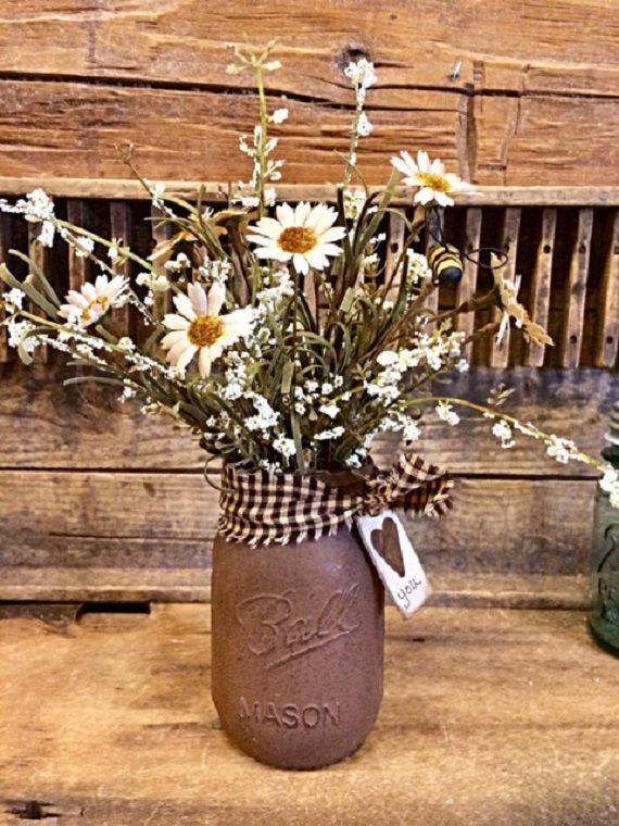 Primitive Flowers Country Farmhouse Mason Jarchocolate Brown Etsy Mason Jar Crafts Diy Mason Jar Decorations Flowers For Mom