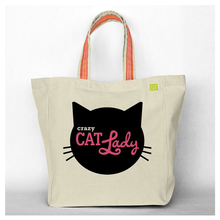 Rock Scissor Paper - Crazy Cat Lady Tote Bag, $35.00