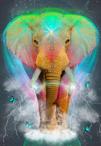 Nothing Is So Strong As Gentleness (Neon Elephant v. 2) by Soaring Anchor Designs ⚓
