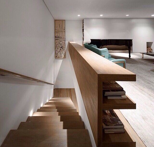 Wooden staircase | #verticality #staircase #wood #bookshelf #interiors #design #architects