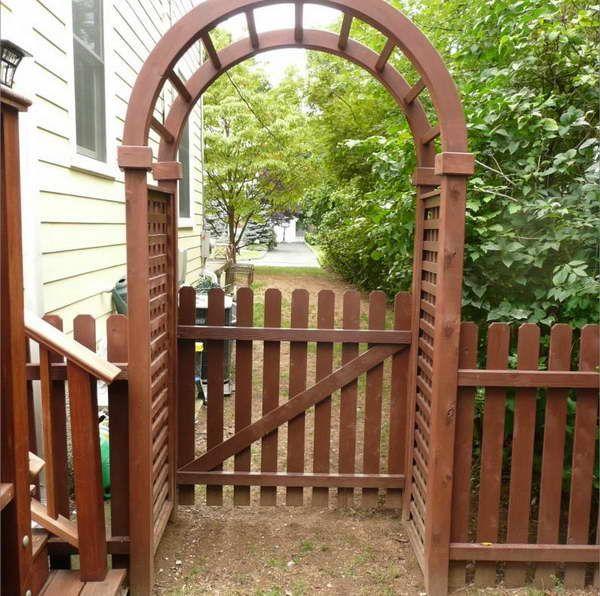 Arbor Over Gate Ideas: Beautiful Design Of Vinyl Arbor With Gate: Vinyl Arbor
