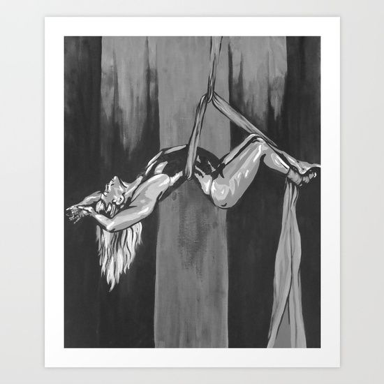 Hanging by a Thread Black and White Art Print