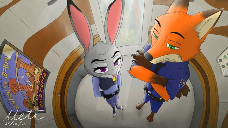 Nick and Judy travelling in a elevator