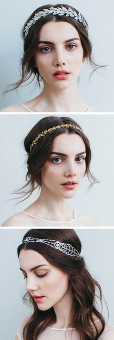 Wedding headpieces by Jennifer Behr: each piece is made by hand in New York City of the highest quality Swarovski crystal and golden metals. Shop the look at http://www.jenniferbehr.com