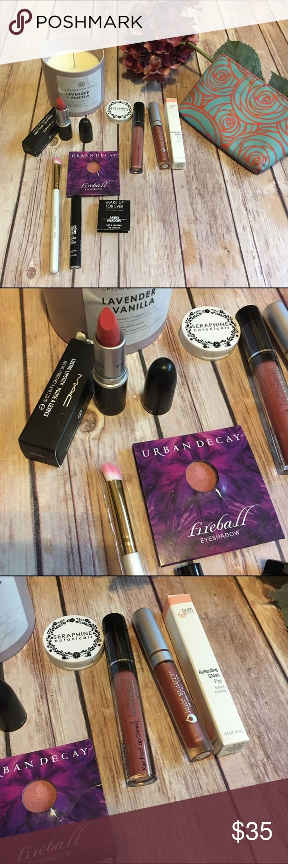 Make up kit with bag💕💕NWT In this fabulous spring make up kit you will get:  Mac Lustre lipstick in lovelorn, The Balm mad lash mascara in black, bellapierre kiss proof lip cream in vanity pink, Juice Beauty reflecting gloss in fig, soft angled eye brush, Urban Decay fireball shadow, make up forever artist shadow in 6p01 which is a taupe shimmer, and seraphina botanicals happy hibiscus loose natural blush and a cute spring make up bag. All products are new and never tested. Urban Decay…