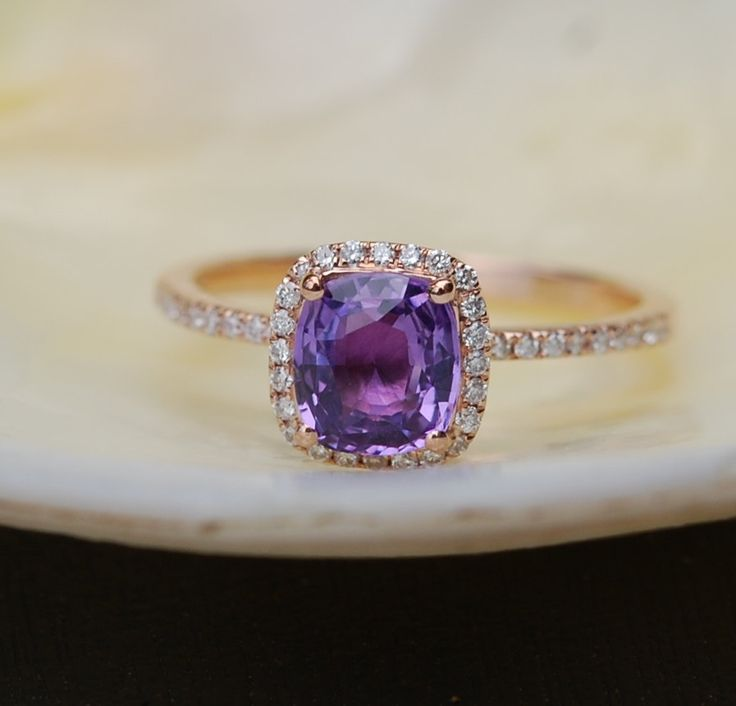 Purple Sapphire Rose Gold Ring 14k diamond ring Peach Lavender Cushion Sapphire 1.1ct