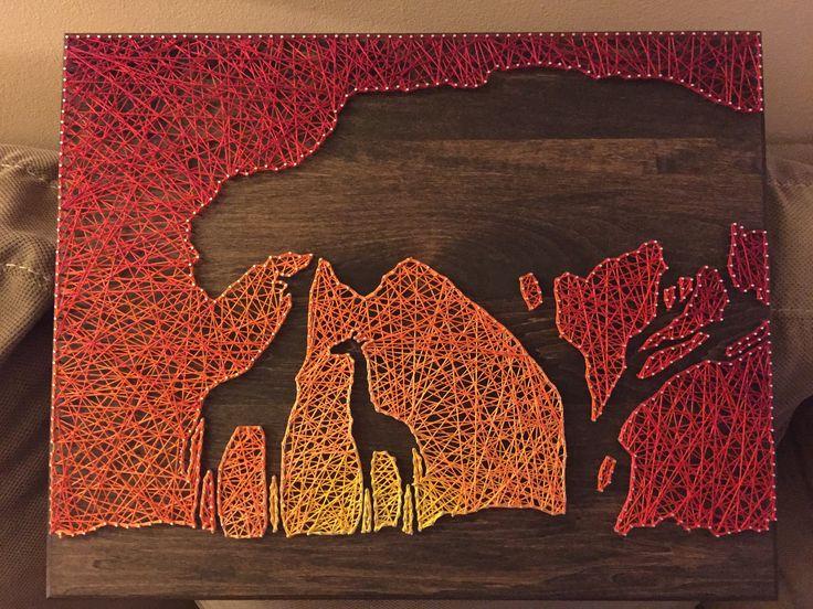 Afrikanischen Sonnenuntergang String Art