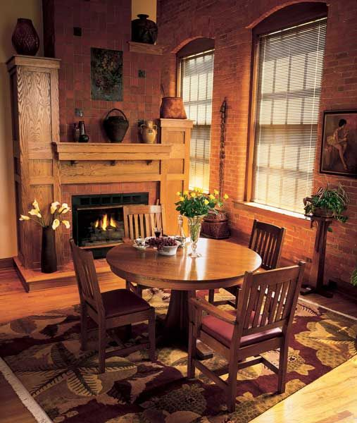 Round Stickley Mission Dining Table And Chairs