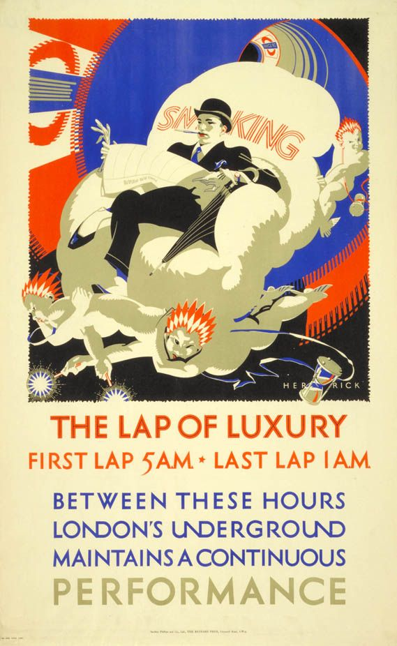 The Lap of Lucky by Frederick Charles Herrick 1925 London Underground Poster First Lap 5am Last Lap 1am Between These Hours London's Underground Maintains A Continuous Perfermance