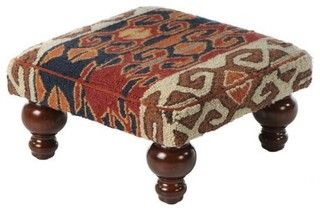 Kilim Hooked Pillow or Footstool - eclectic - ottomans and cubes - by Home Decorators Collection