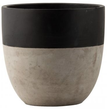 Concrete tabletop planter with black painted rim and raw concrete dip.