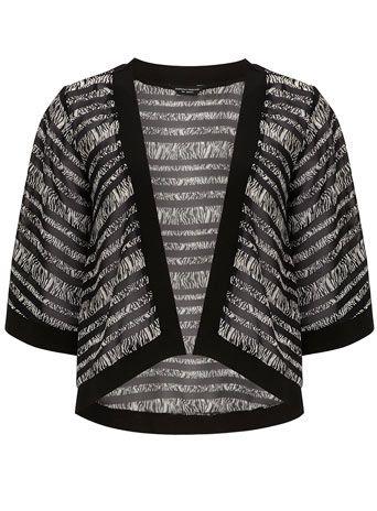 Veste kimono à rayures et motif animalier - Vestes & Manteaux  - Vêtements