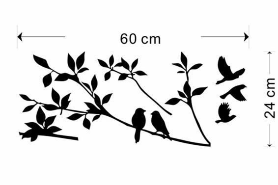 Wall Decal  - BIRDS AND TREES - Vintage - Retro - Removable Wall Decal