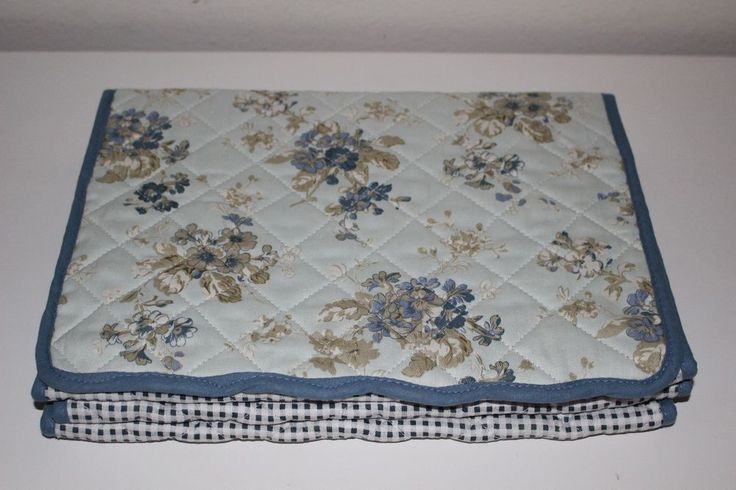 Waverly Quilted Table Runner Reversible Blue Floral Gingham Check 14X72 NWOT #Waverly