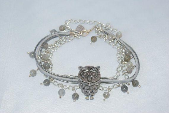 Gemstone Bracelet Owl Slider by WorldOfAllCraft on Etsy