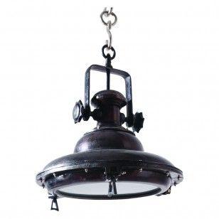 BLACK PEARL  Deze Black Pearl hanglamp lijkt door de authentieke details zo van het piratenschip te komen. Uitgevoerd in antiek zwart metaal, geeft deze stoere piraat een bijzonder accent in uw interieur. De Black Pearl is een juweel van een lamp en door haar bijzondere uitstraling ook een echte blikvanger.  € 349,00