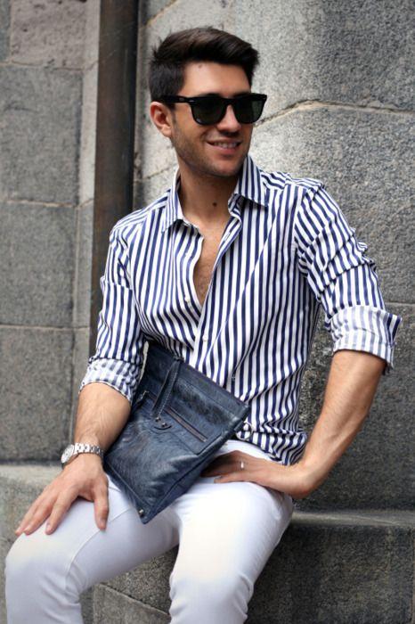 white pants blue button up