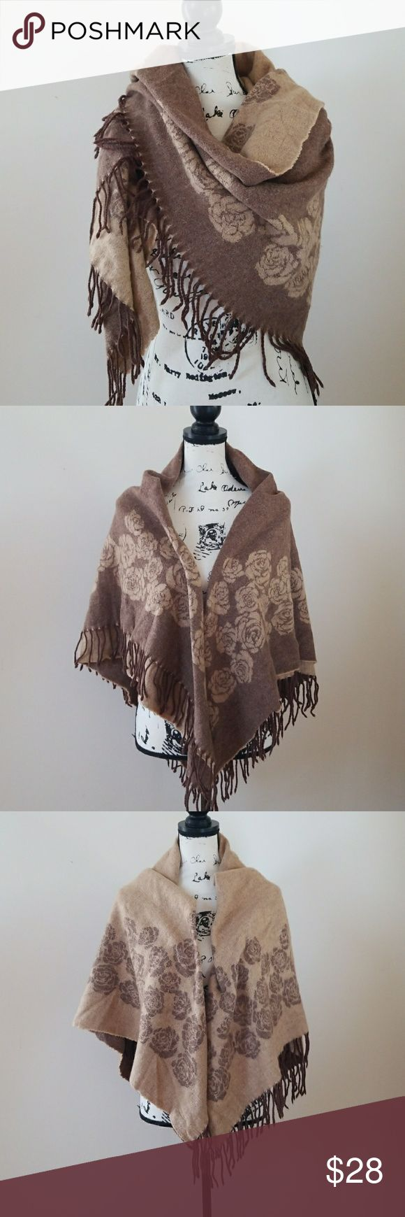 Blanket 💯Cashmere Shawl Big blanket 💯Cashmere soft comfortable cozy warm shawl. It's two for the price of one,  One side is beige the other Brown with roses.  100% cashmere  great condition Accessories Scarves & Wraps