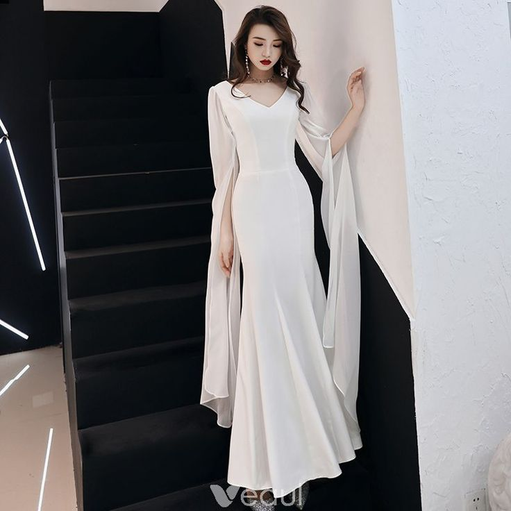 Modest / Simple Ivory Chiffon Evening Dresses 2019 Trumpet / Mermaid V-Neck Long Sleeve Metal Sash Floor-Length / Long Ruffle Backless Formal Dresses 3