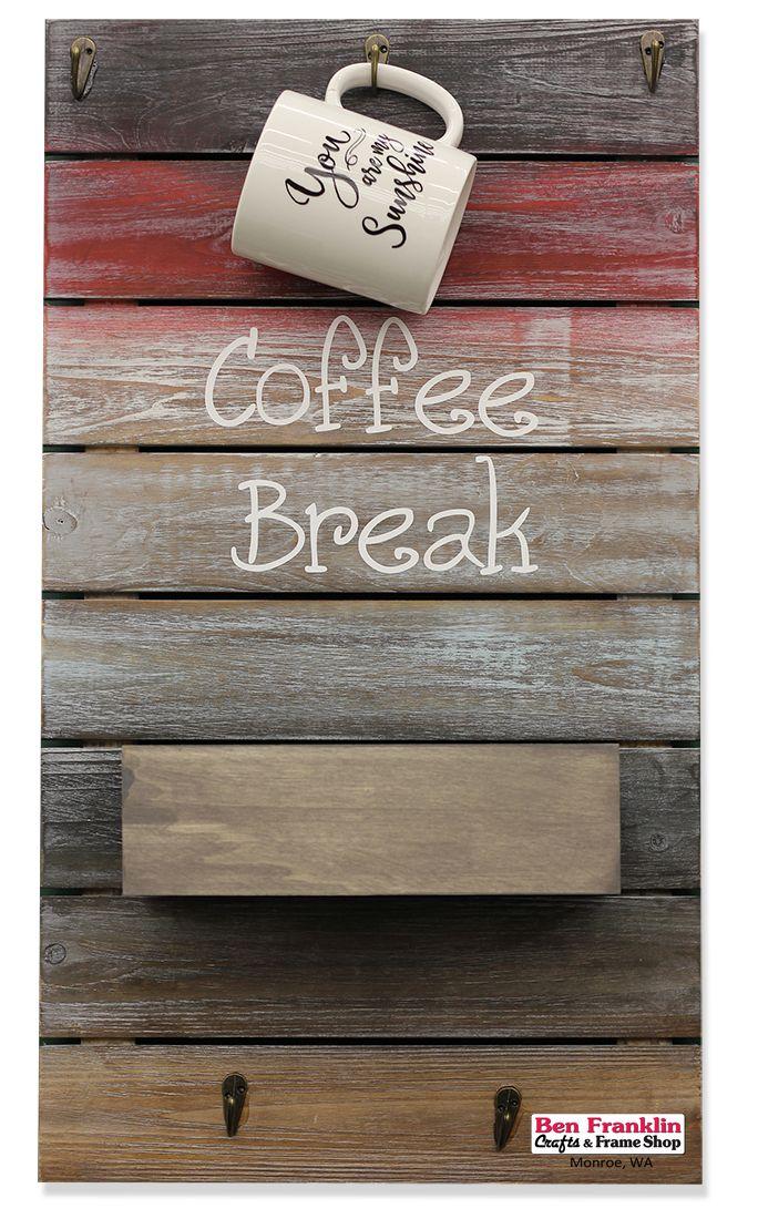 This coffee break vinyl pallet board would
