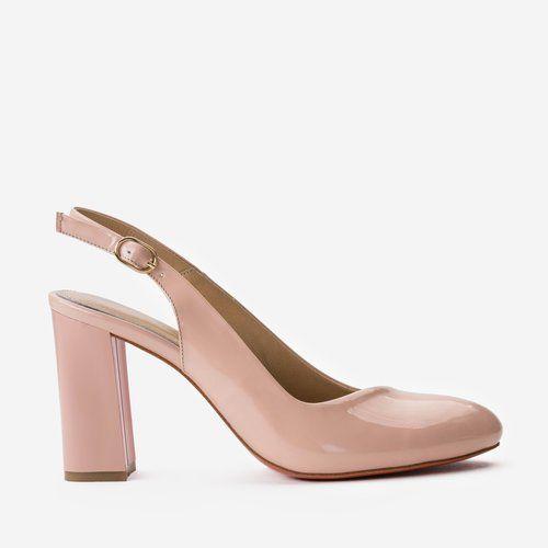 Pantofi roz pudra din piele naturala Yanick