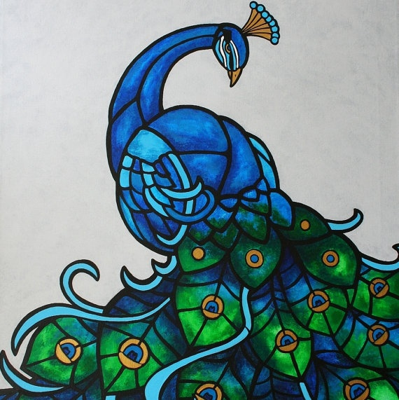 Original Art Peacock Painting by deck on Etsy, $450.00