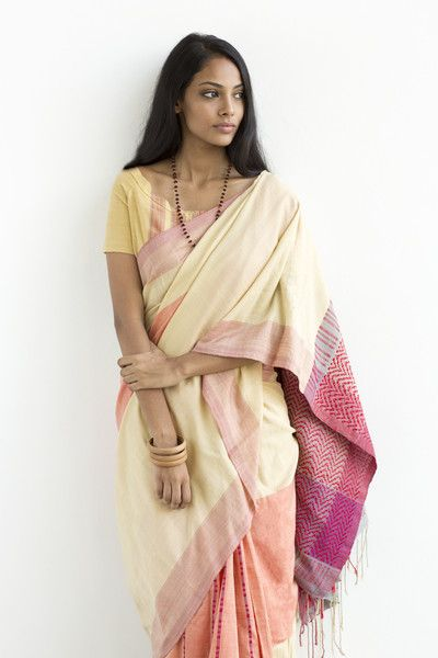 Cotton Saree in Shades of Beige and Pink from FashionMarket.LK