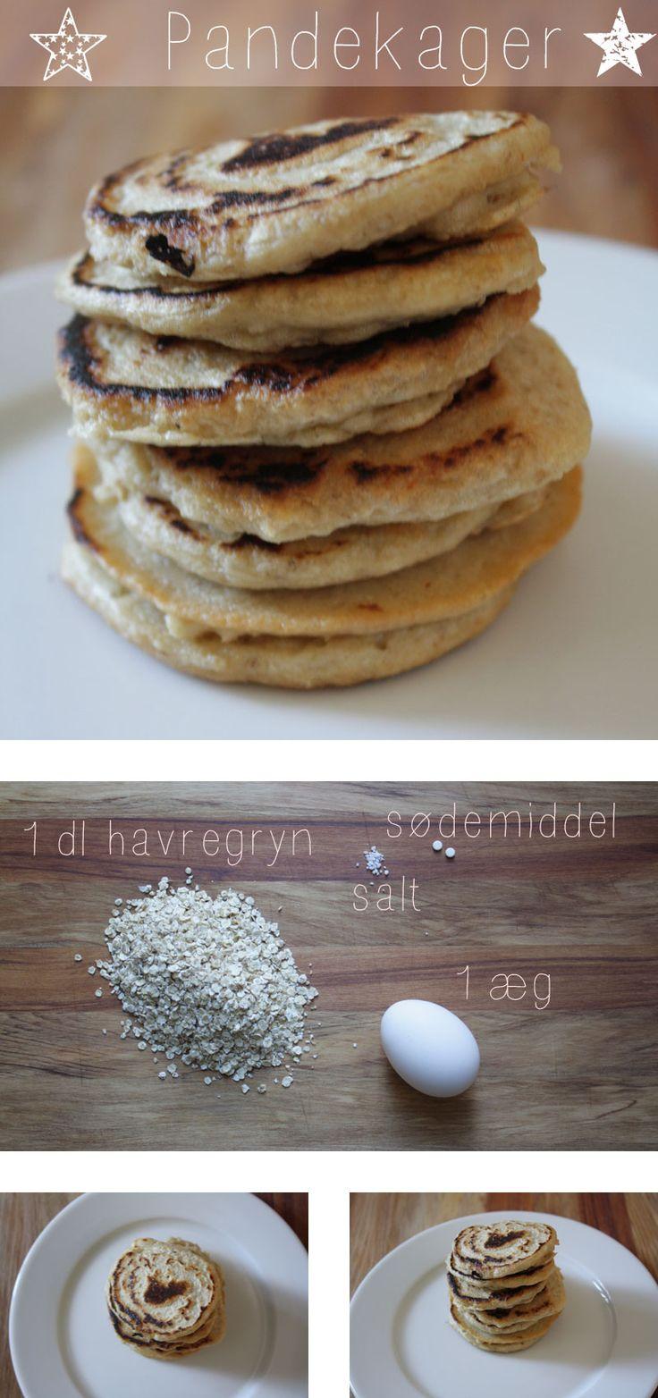 grød: Bland ca 0,75 dl kogende vand sammen med havregryn, sød og salt. Blend det hele til en ensartet masse (minihakker) Tilsæt ægget og blend det igen. Konsistensen skal nu gerne være som almindelig pandekage dej – ikke for tør og ikke får våd. På varm pande kan pandekager nu laves – enten som små, mellem eller én stor. kan også tilføjes vaniljepulver, revet appelsin- eller citronskal, kokosmel, hørfrø, kakao osv. Havregrøden må helst ikke være alt for varm når ægget tilsættes.