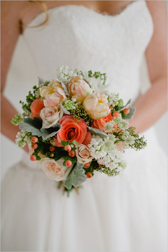 peach, coral and white bridal bouquet by Prestige Floral Studio