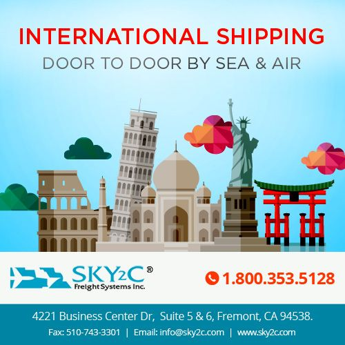 Sky2C offers #internationalshipping service and secure delivery of goods from #doortodoor. Call us today at +1.800.353.5128 for a free Quote.