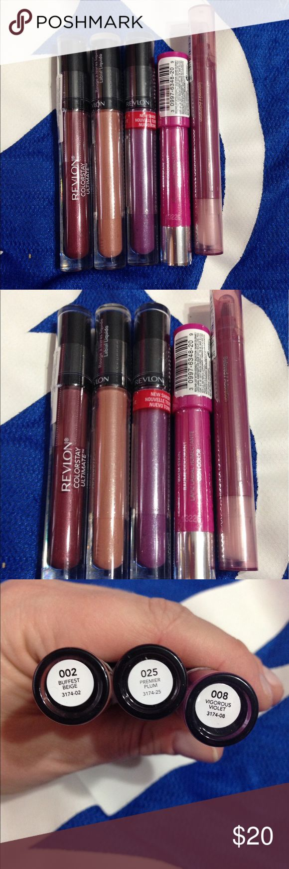 Revlon Lipstick & Lipstain Bundle (5 Shades) 5 brand new and never used Revlon lip products. Comes with 3 liquid lipsticks and 2 lip stains. Revlon Makeup Lipstick