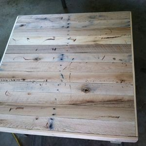 Check out this project on RYOBI Nation - I got free pallets from work and took them apart. Used table saw to rip all planks the same size.