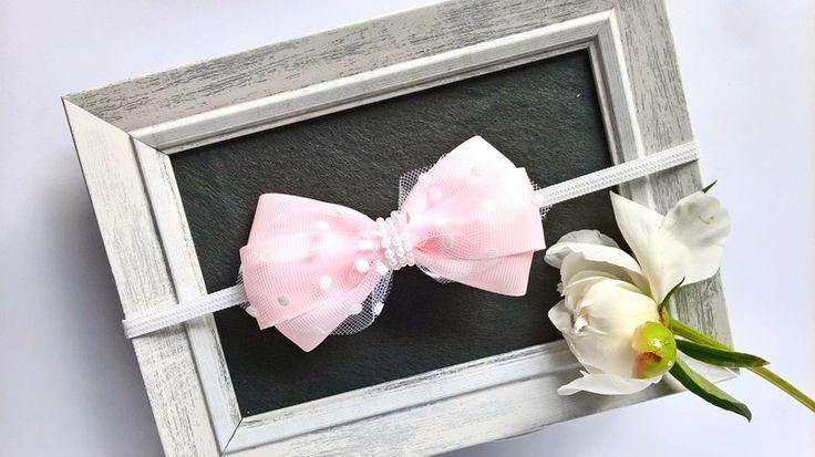 Elegancka opaska różowa kokardka z tiulem w kropki - MadebyKaza - Opaski dla niemowląt