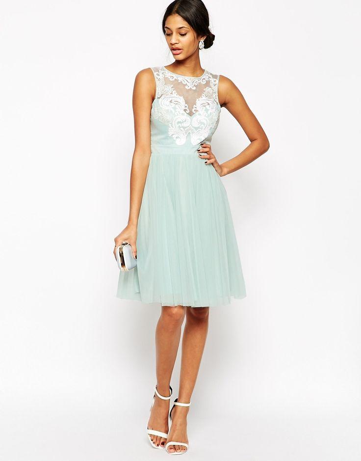 Lipsy VIP Laser Cut Midi Prom Dress With Full Skirt