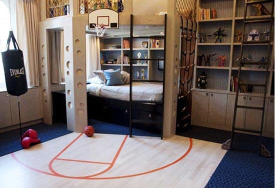 bedroom basketball court: Brett's dream for his little boys