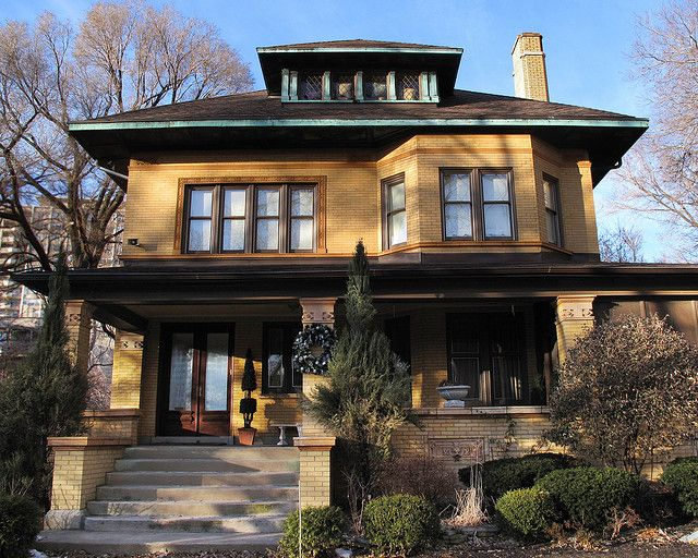Yellow brick house in Lake View, Chicago by John Picken, via Flickr