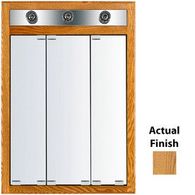 kraftmaid traditional 24in x 35in square mirrored wood medicine cabinet with light